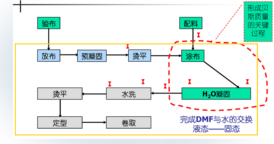 从湿法生产工艺流程图中可以看出,影响贝斯质量关键过程为图中虚线框内完成DMF与水的交换过程,在凝固过程中,凝固槽中DMF浓度越高,则PU工作浆中的DMF向水中扩散速度越慢,PU皮膜结构越紧密,微孔孔径越小,产品密度越大,透气性越小; 反之DMF浓度越低,则PU工作浆中的DMF向水中扩散速度越快,PU皮膜结构越疏松,微孔孔径越大,产品密度越小,透气性,剥离强度越差。为了满足贝斯合适柔软性,透气性,剥离强度以及理想的厚度,每种产品都有其最佳的凝固槽DMF溶液浓度参数。过高或过低的DMF溶液浓度都会造成产品品质